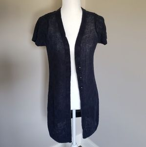 Short-Sleeved Navy Knitted Long Cardigan